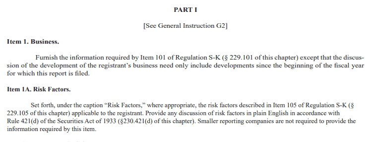 Part I of the Form 10-K with Business and Risk Factors